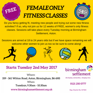 Female Sports Sessions Aston Poster 190417