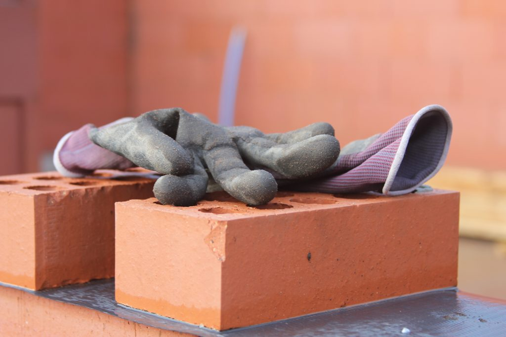 Close up of gloves on a building site