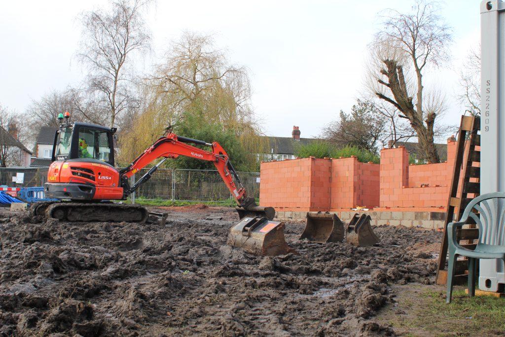 Birmingham Settlement Ladywood - digger digging dec 2020